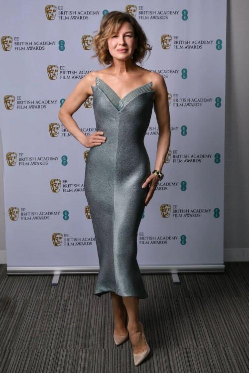 Yay or nay? Renee Zellweger attends the BAFTAS2021 wearing a silver midi dress - SeenIt