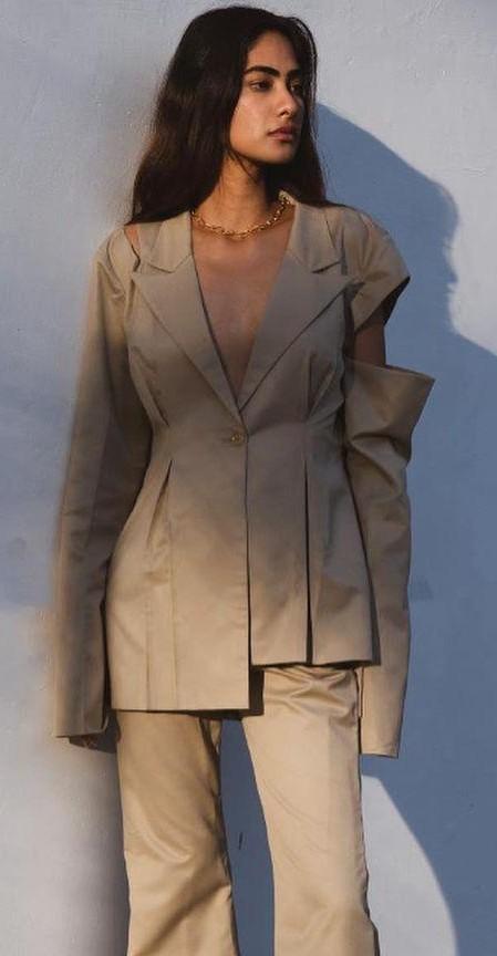 Find me a similar beige shoulder cutout detail blazer, please - SeenIt