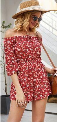 Find me a similar red floral off-shoulder playsuit, please - SeenIt