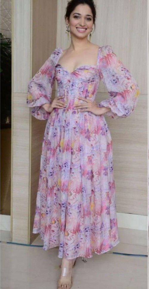 Tamannah Bhati's floral peint midi dress please - SeenIt