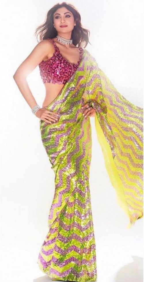 Yay or nay? Shilpa Shetty seen wearing a yellow and red Aakansha Girija saree - SeenIt