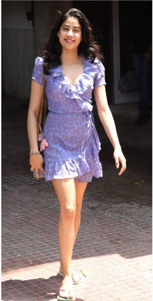 Yay or nay? Jhanvi Kapoor seen wearing a lilac ruffle short dress recently - SeenIt