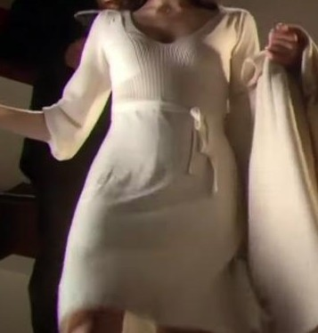 looking for a similar white dress, v neckline, ribbed on top,with a white sash and poofy quarter length sleeves. From the series Hustle, season 4 ep 5 - SeenIt