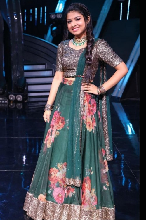 Need this metallic and bottle green floral print lehenga on Arunima Mittal in Indian Idol - SeenIt