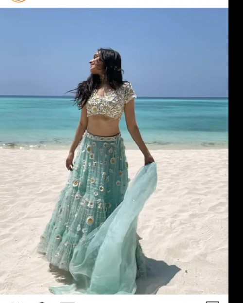 I'm looking for this sky blue flower applique lehenga as seen on Shraddha Kapoor - SeenIt