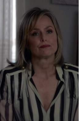 Jacqueline Carlyle's striped monochrome blouse - SeenIt