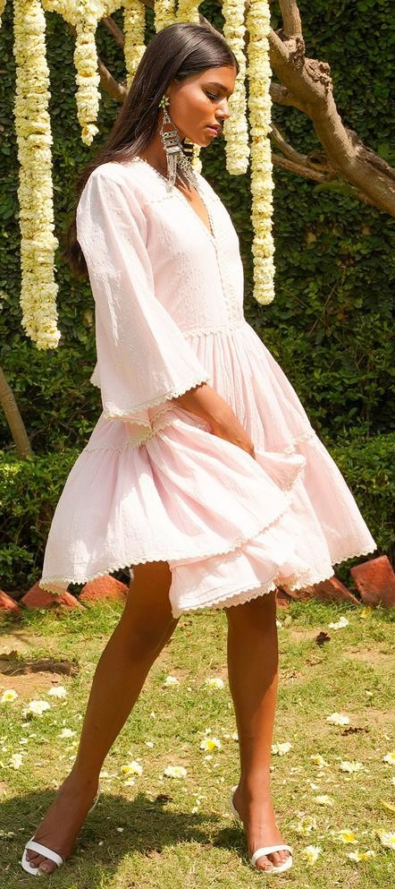 Similar rose pink ruffle dress - SeenIt