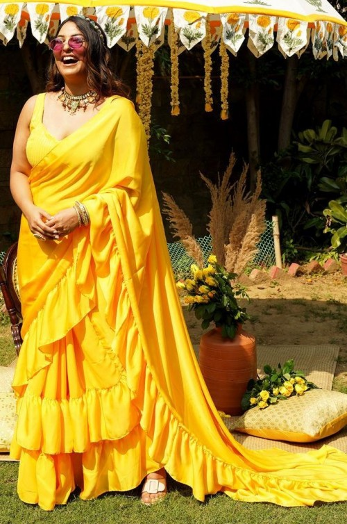 similar yellow ruffles saree, please - SeenIt