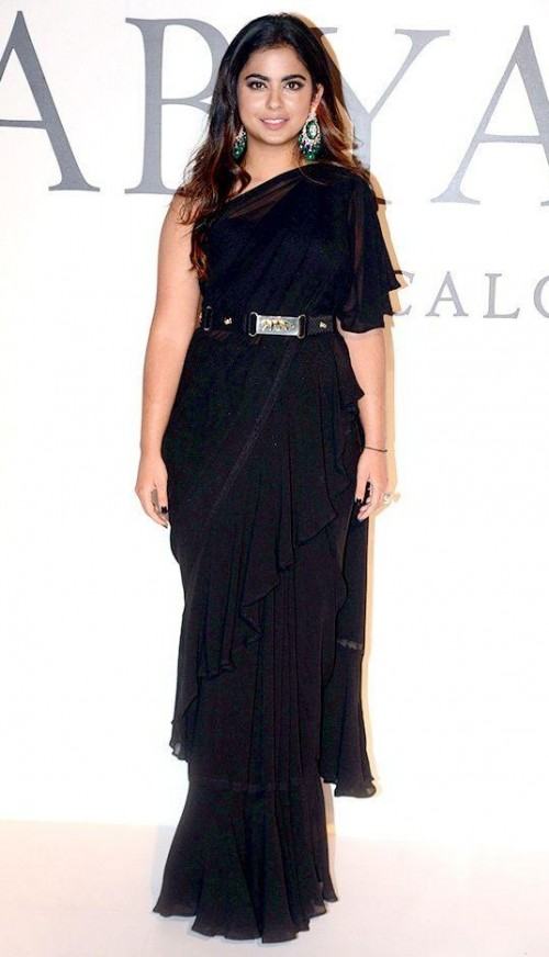 similar black ruffle saree that Isha Ambani is wearing - SeenIt