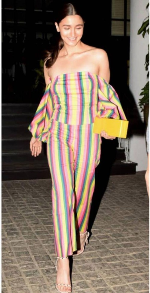 Yay or nay? Alia Bhatt seen wearing a multi colored striped coord set - SeenIt