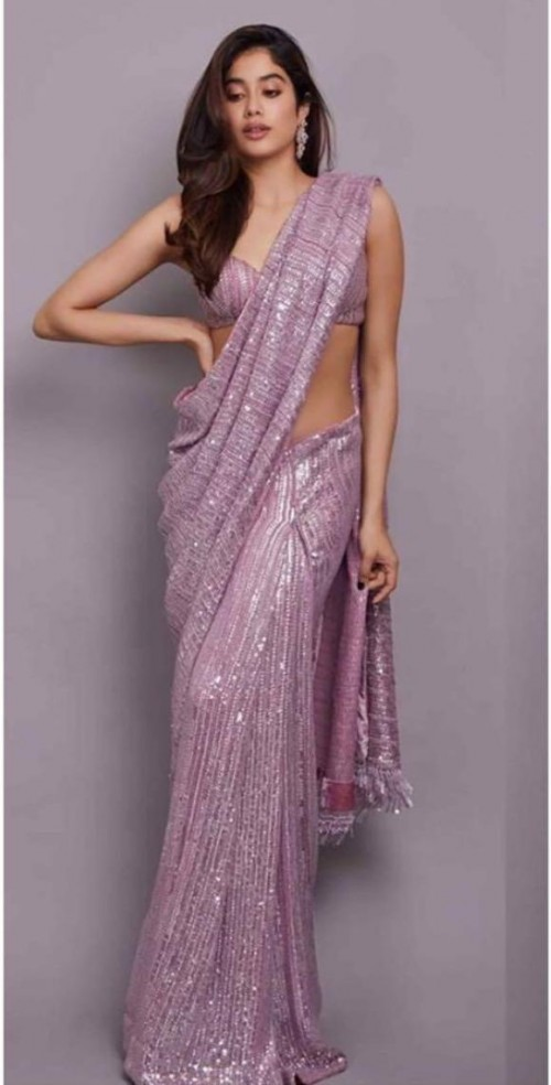 Yay or nay? Jhanvi Kapoor seen wearing a sequin shimmer lilac saree by Manish Malhotra - SeenIt