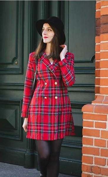 please find me a similar red plaid blazer dress - SeenIt