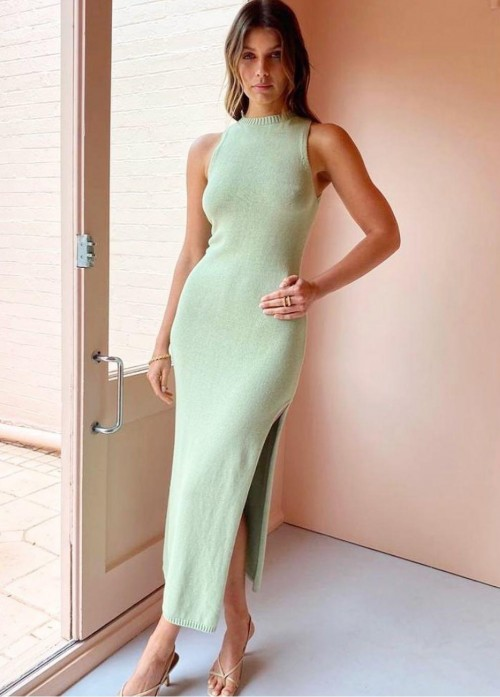 Looking for a similar green midi dress with a slit - SeenIt
