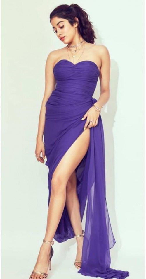 Yay or nay? Jhanvi Kapoor seen wearing a purple thigh high slit gown - SeenIt