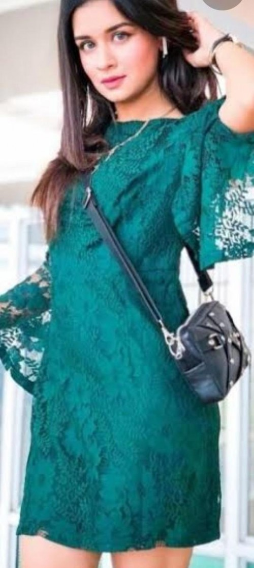 avneet kaur dark green net crop bodycon dress - SeenIt