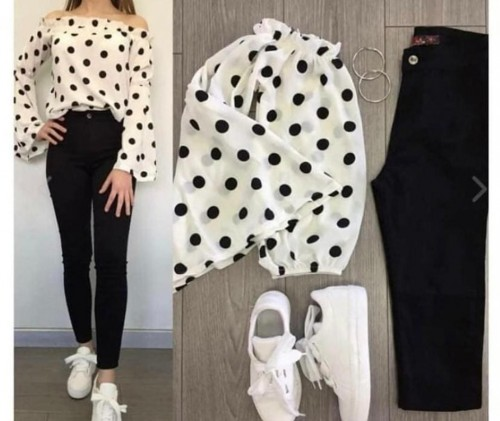 white crop top and black jeans and white shoes - SeenIt