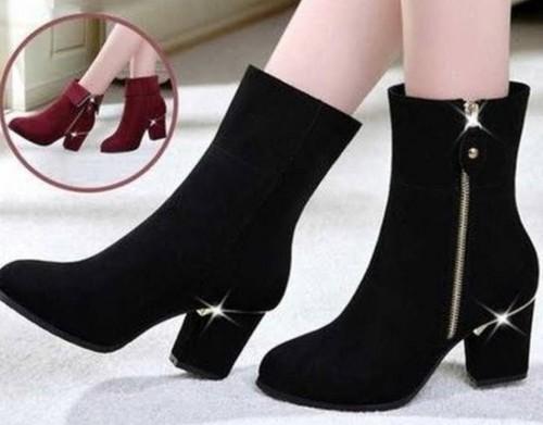 black heel chain boots - SeenIt