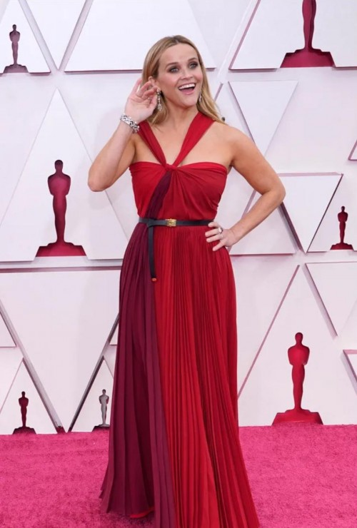 Yay or nay? Reese Witherspoon attends the Oscars  Academy Awards 2021 wearing a maroon halter neck gown - SeenIt