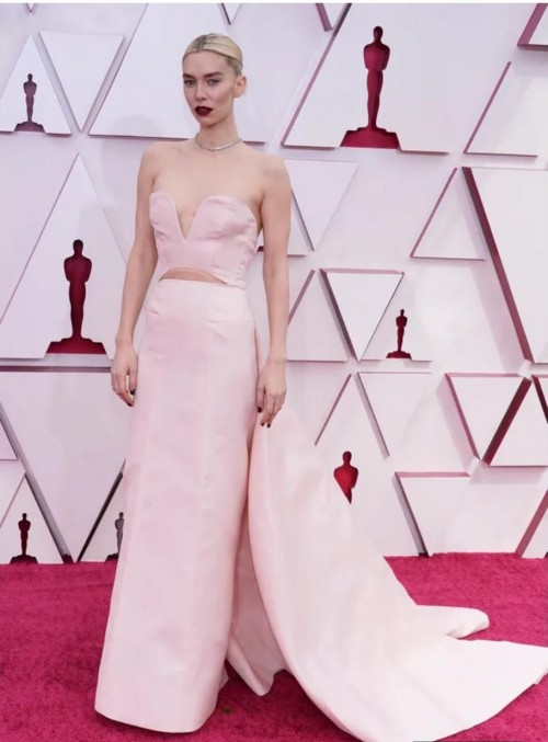 Yay or nay? Vanessa Kirby attends the Oscars  Academy Awards 2021 wearing a pale pink strapless gown - SeenIt