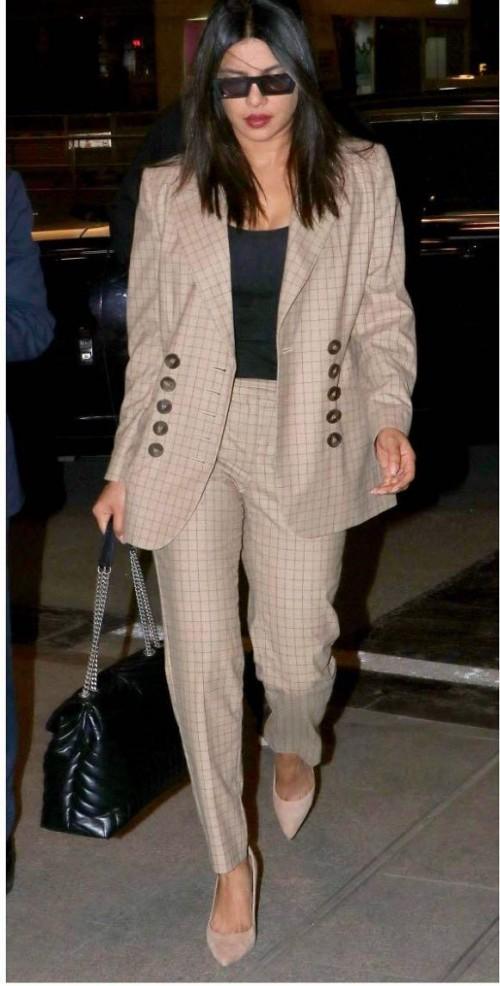Yay or nay? Priyanka Chopra seen wearing a brown beige checekes pantsuit - SeenIt