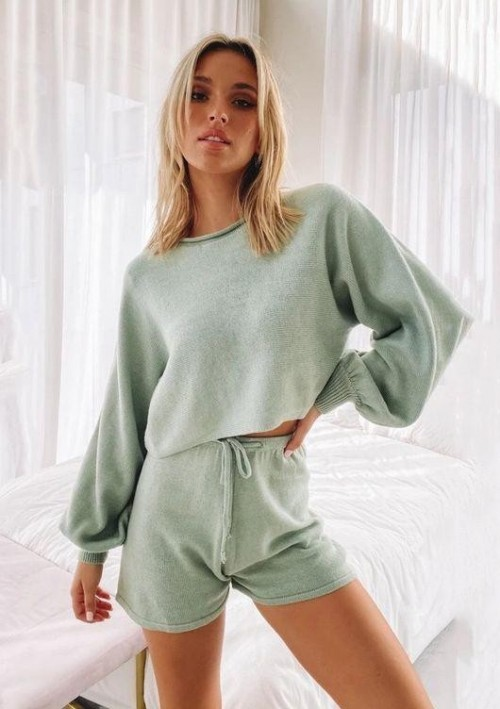 Similar mint green loungewear set, please - SeenIt