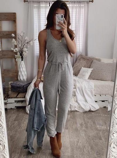 A similar grey loungewear jumpsuit, please - SeenIt