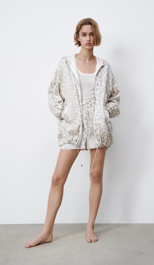 please help me find these similar animal print jacket and shorts - SeenIt
