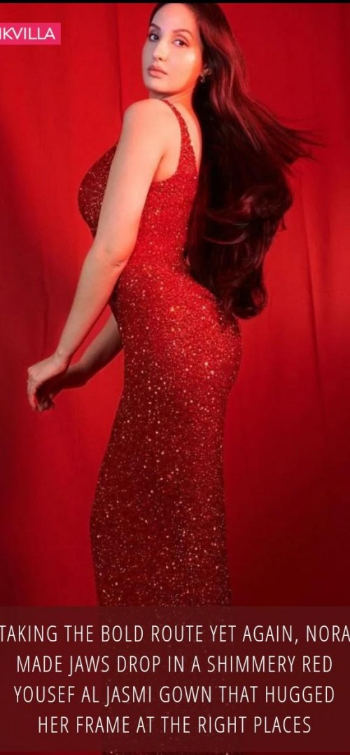 this red sequin bodycon dress like Nora Fatehi - SeenIt