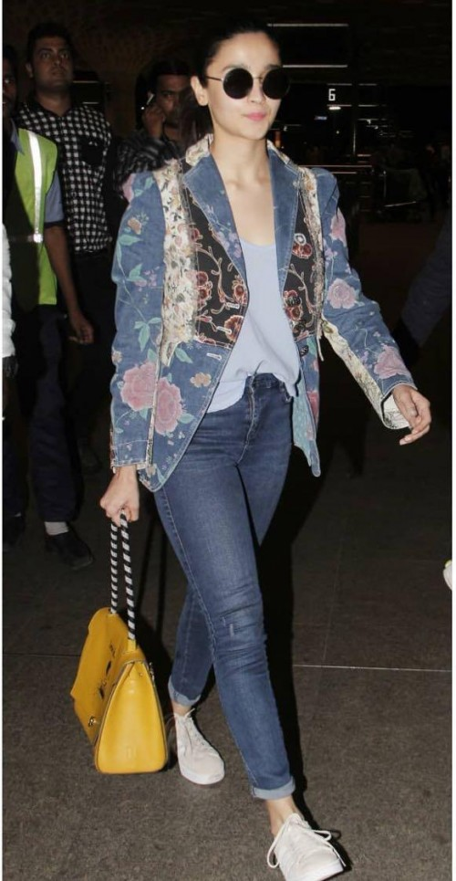 Yay or nay? Alia Bhatt seen wearing a blue printed short blazer with denims outfit recently at the airport - SeenIt