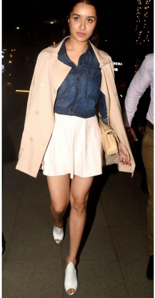 Looking for a similar blush pink coat online like Shradhha Kapoor is seen wearing - SeenIt