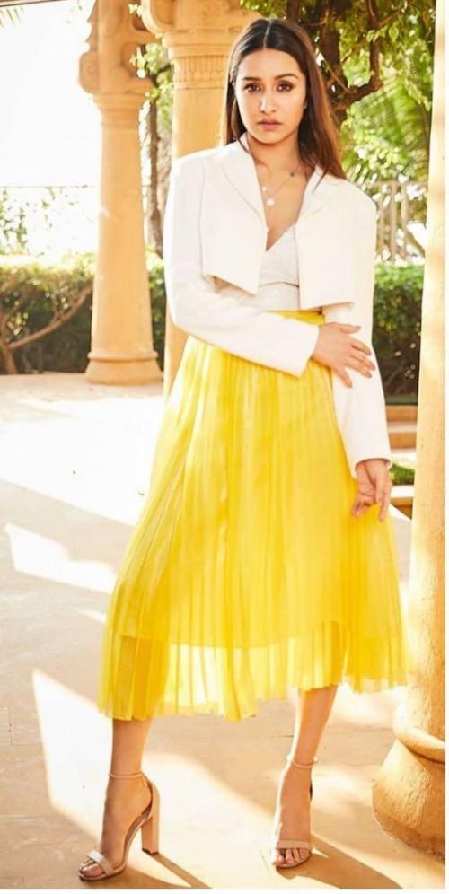 Need a similar yellow pleated midi skirt online - SeenIt