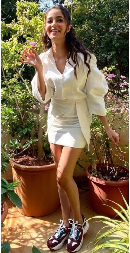 Yay or nay? Ananya Pandey seen wearing an all white skirt and shirt outfit - SeenIt