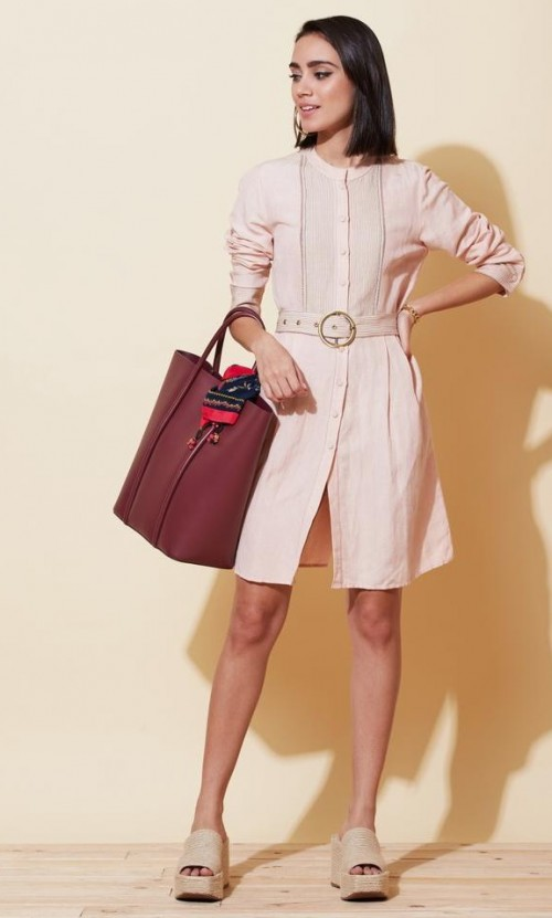 Similar soft pink shirt dress, please - SeenIt