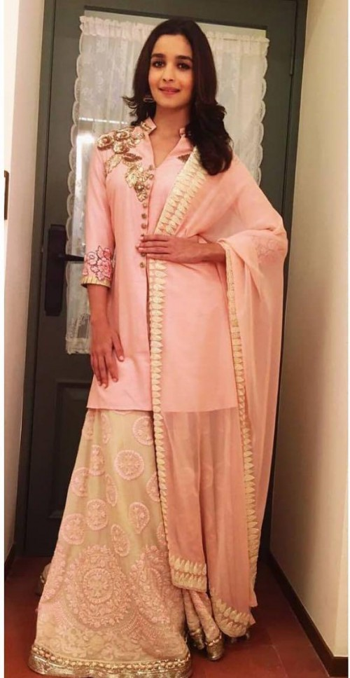 Yay or nay? Alia Bhatt seen wearing a pink sharara outfit recently - SeenIt