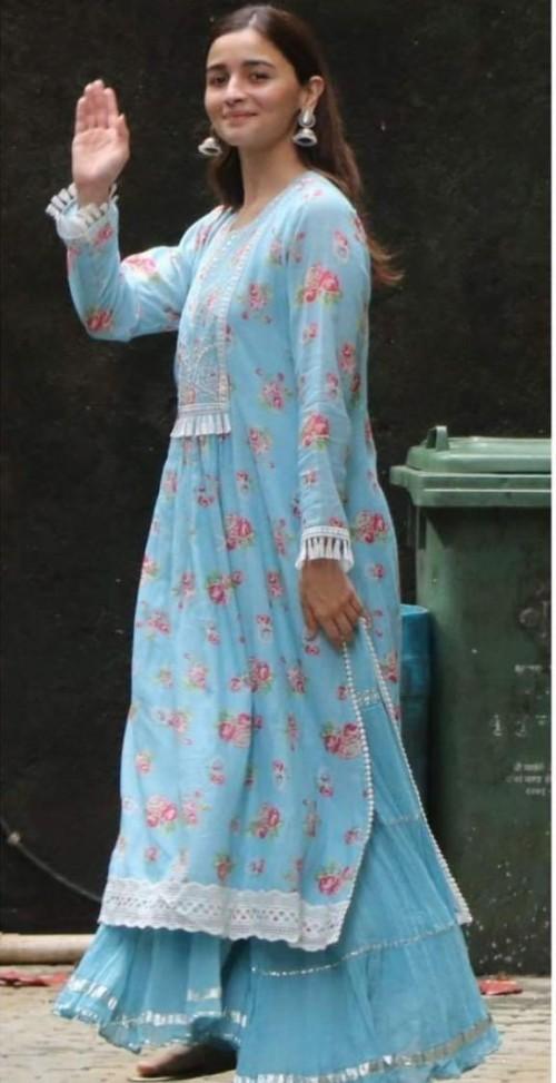 Yay or nay? Alia Bhatt seen wearing a blue floral sharara set - SeenIt