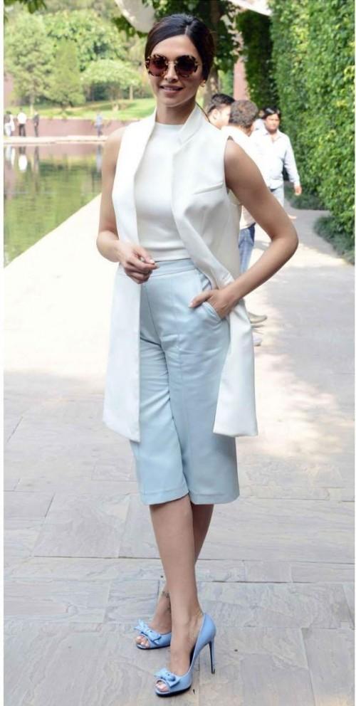 Help me look for similar blue culottes online like Deepika Padukone is seen wearing - SeenIt