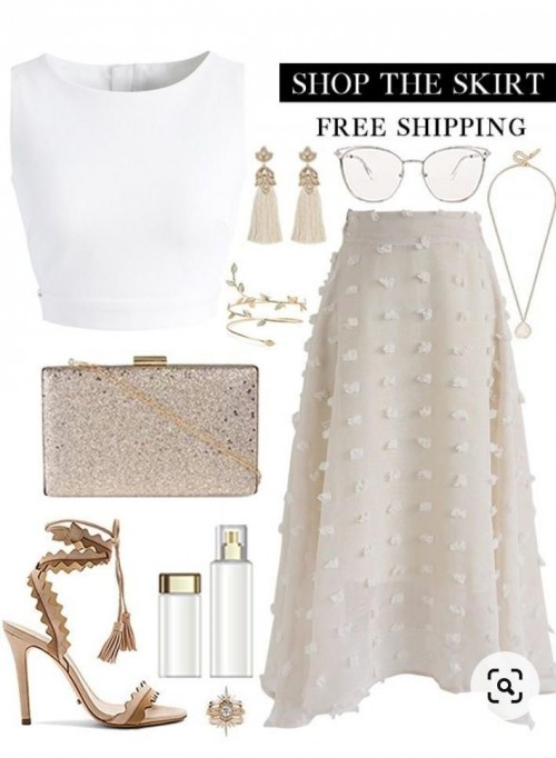 i want this top, skirt, bracelet, glasses and heels - SeenIt