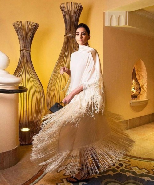 Yay or nay? Sonam kapoor seen wearing a white fringe dress for a shoot - SeenIt