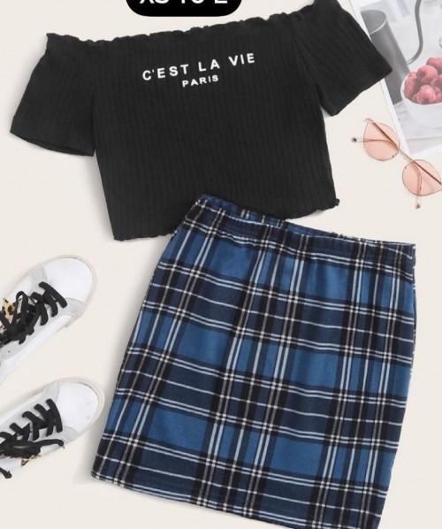 shoulder down shirt pencil skirt set - SeenIt