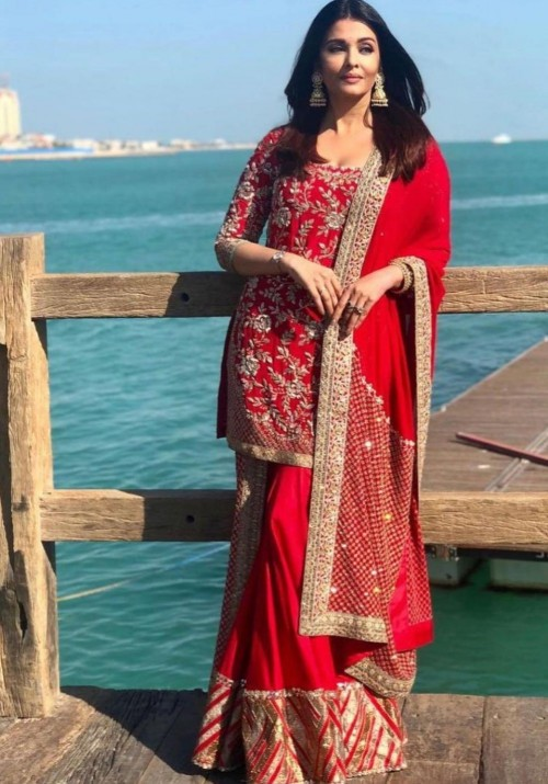Yay or nay? Aidhwarya Bachchan seen wearing a red with golden embroidery sharara set - SeenIt