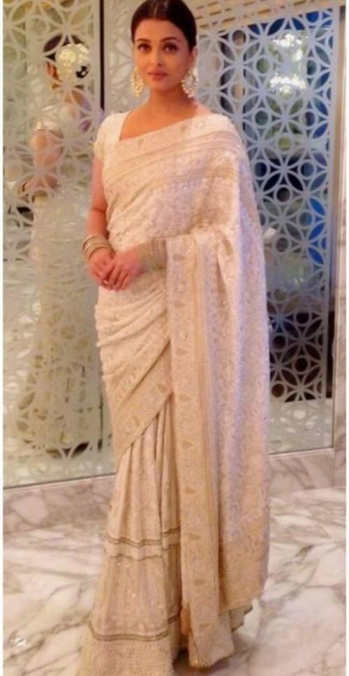 Yay or nay? Aishwarya Rai seen wearing an off white embroidered saree - SeenIt