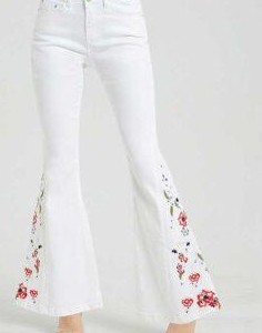 white denim bell bottom with roses embroidery - SeenIt