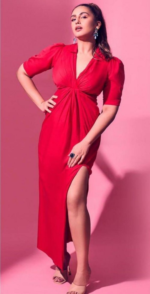 Looking for a similar red slit dress like Huma Qureshi is seen wearing - SeenIt