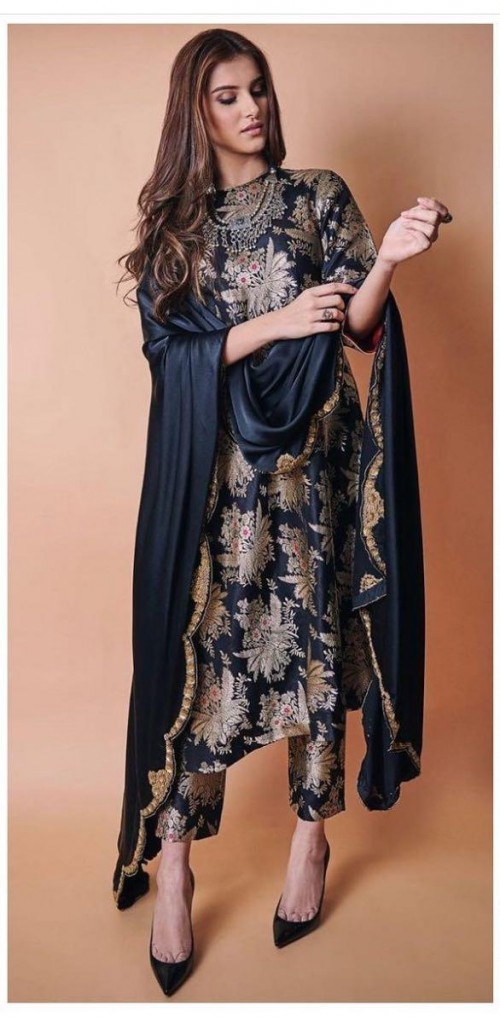 Yay or nay? Tara Sutaria seen wearing a black silk with golden print suit recently - SeenIt