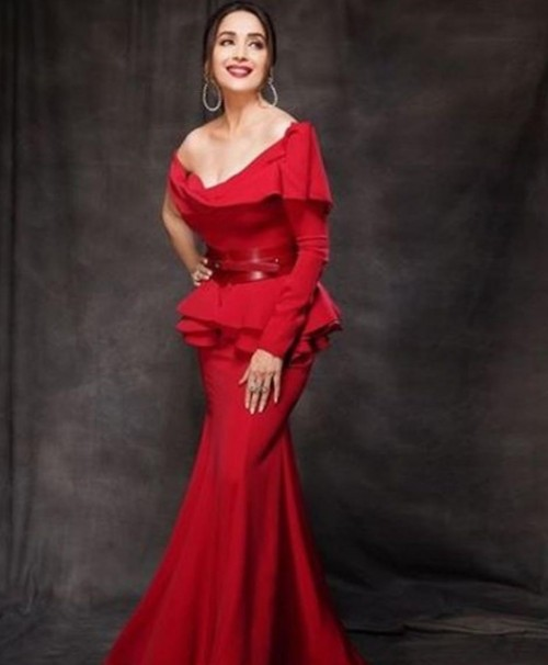 Yay or nay? Madhuri Dixit seen wearing a red off shoulder gown on the sets of dance deewane - SeenIt
