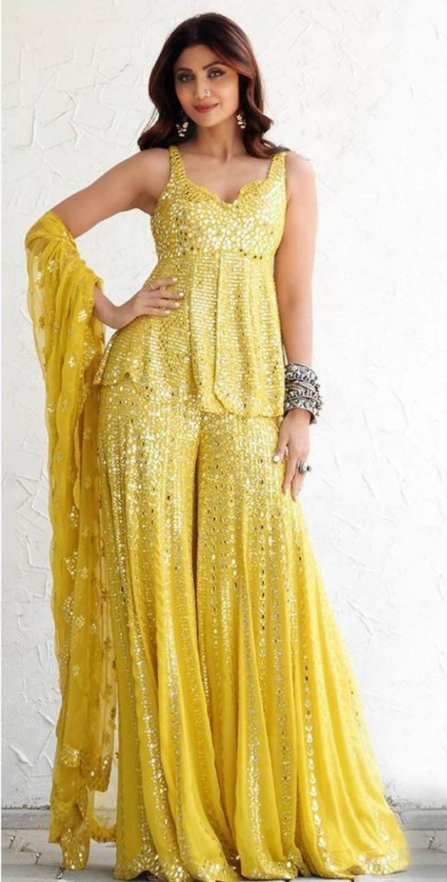 Help me look for a similar yellow shimmer outfit like Shilpa Shetty is seen wearing - SeenIt