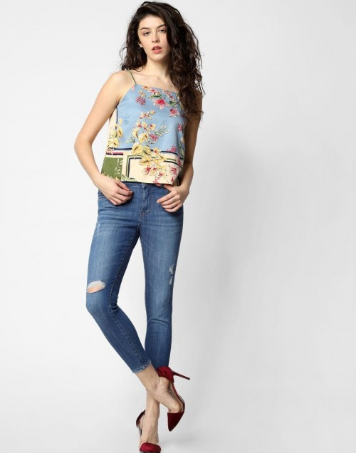 Looking for these blue skinny jeans and floral tube top - SeenIt