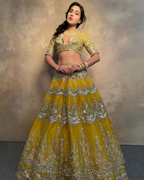 Yay or nay? Sara Ali Khan seen wearing a yellow mustard embroidered lehenga outfit for a Manish Malhotra shoot - SeenIt