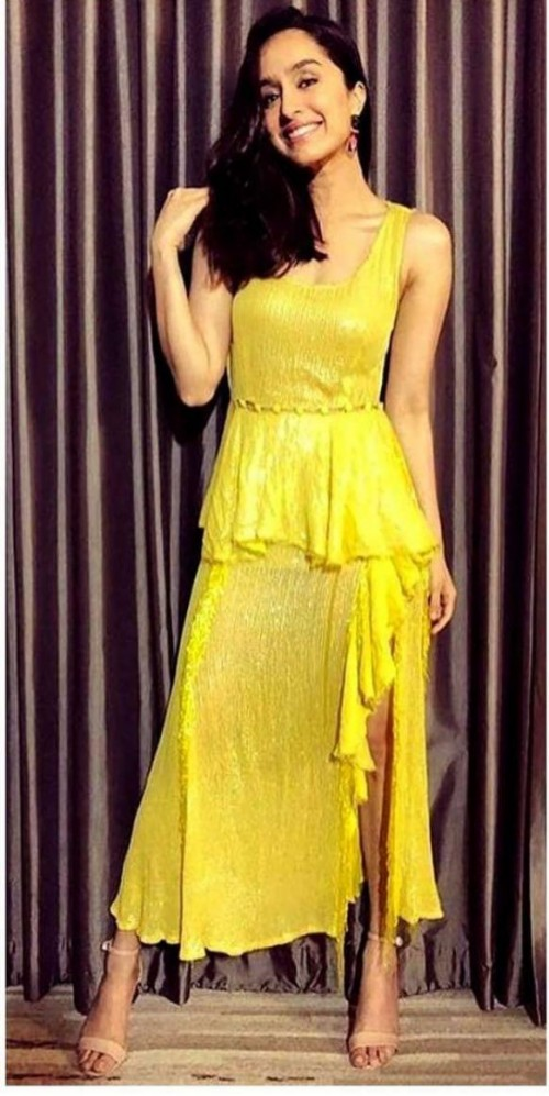 Yay or nay? Shradhha Kapoor seen wearing a yellow frilll slit outfit - SeenIt