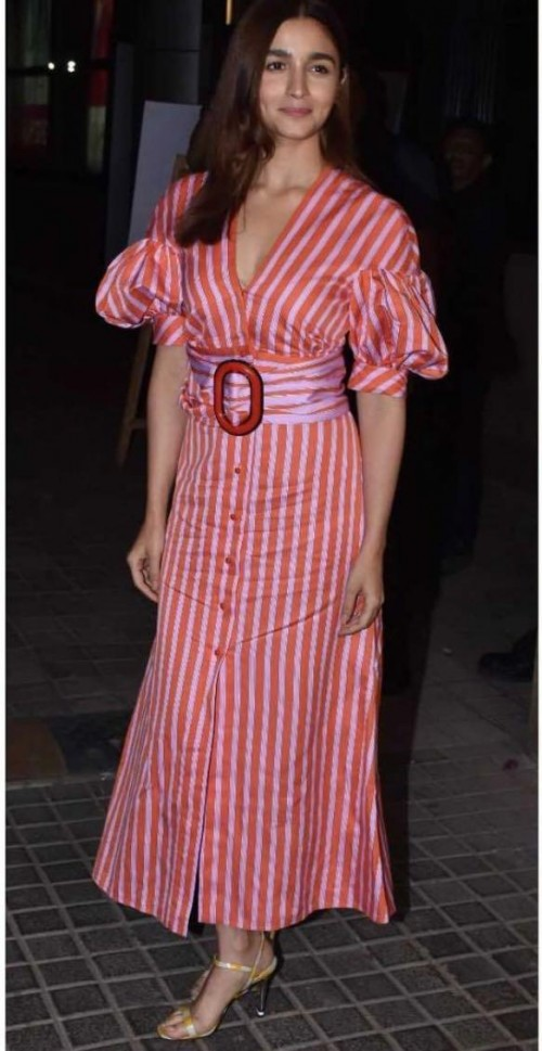 Yay or nay? Alia Bhatt seen wearing a red striped maxi front buttoned dress - SeenIt